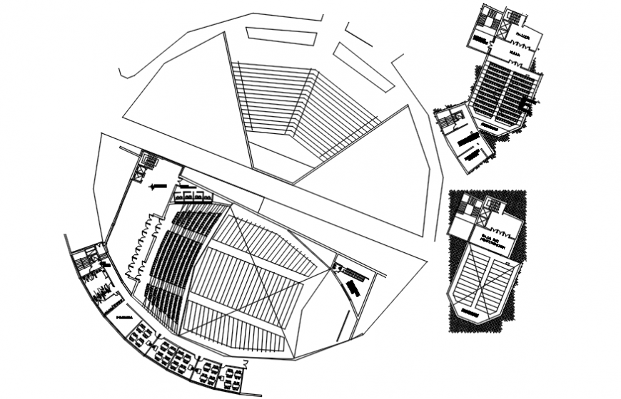 E-community center and hall ground floor distribution plan details dwg file