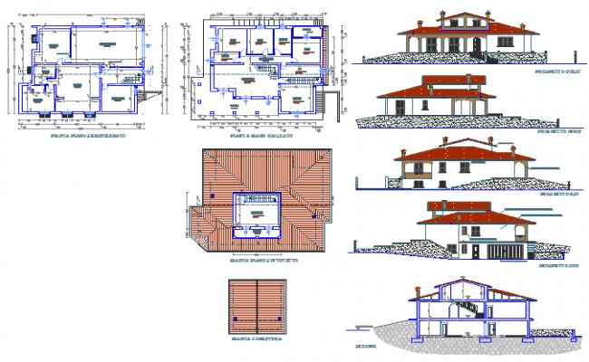 Architectural plan of Bungalow design