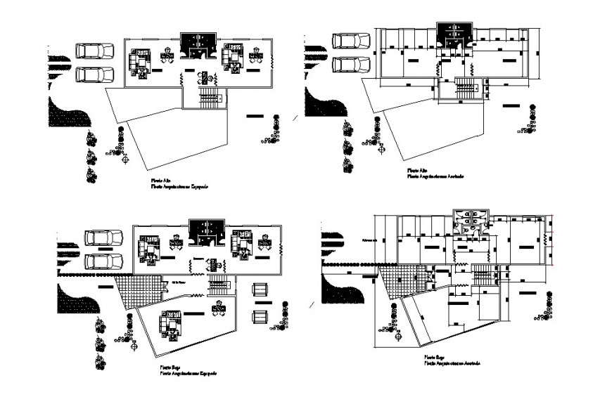 Early care car service building floor plan distribution cad drawing details dwg file