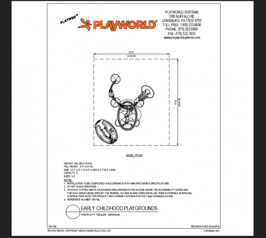 Early child school play ground's toddler play equipment details dwg file