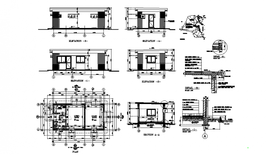 Earth gard house plan, elevation and section detail dwg file