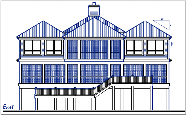 east elevation plan view details dwg file