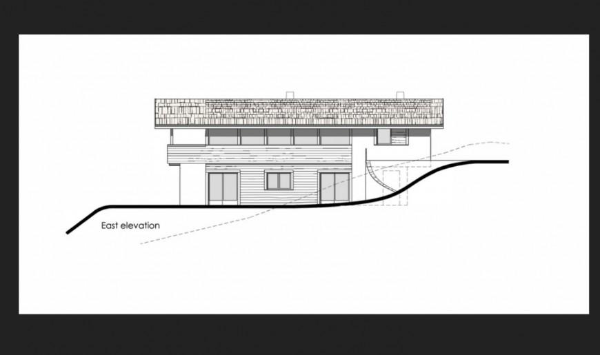 East elevation details of two-story house 3d model cad drawing details skp file