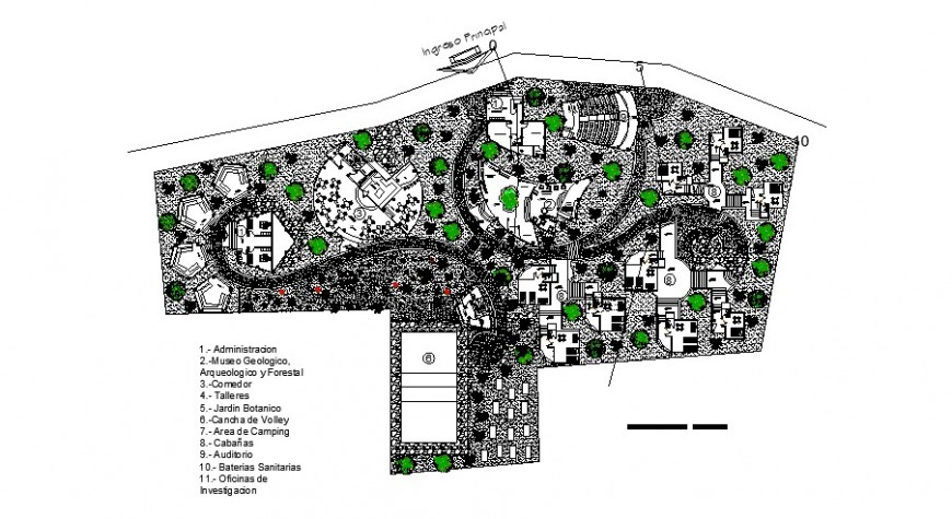 Eco-tourism center using giant native cane park landscaping structure details dwg file