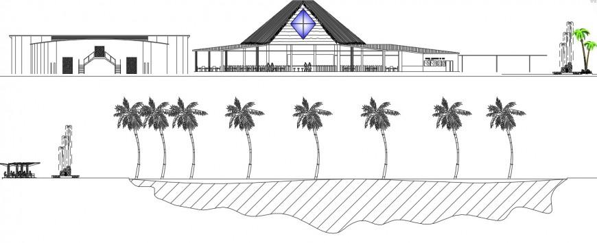 Ecological resort elevation dwg file
