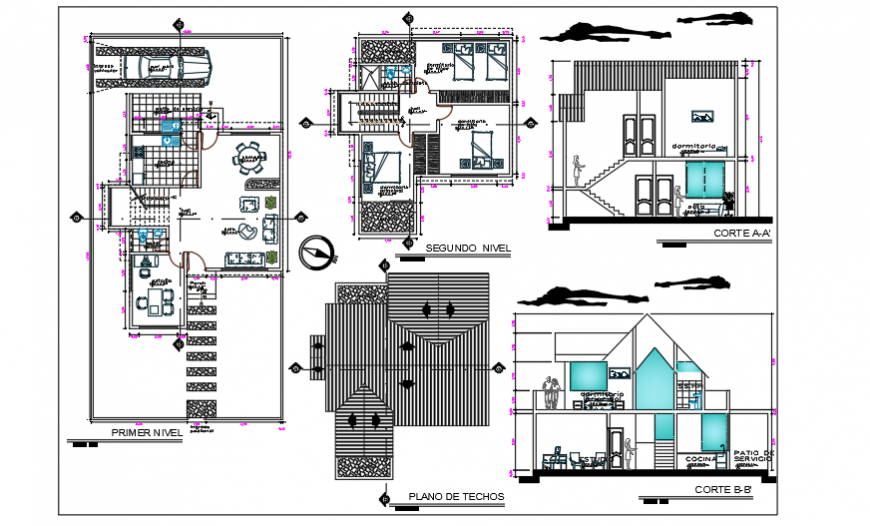 Ecological single  family home design drawing