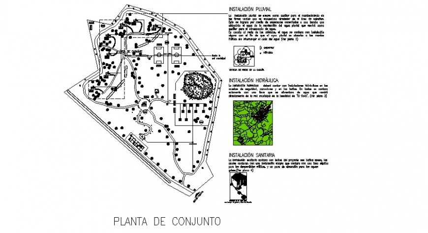 Ecotourism layout plan with water line detail in auto cad