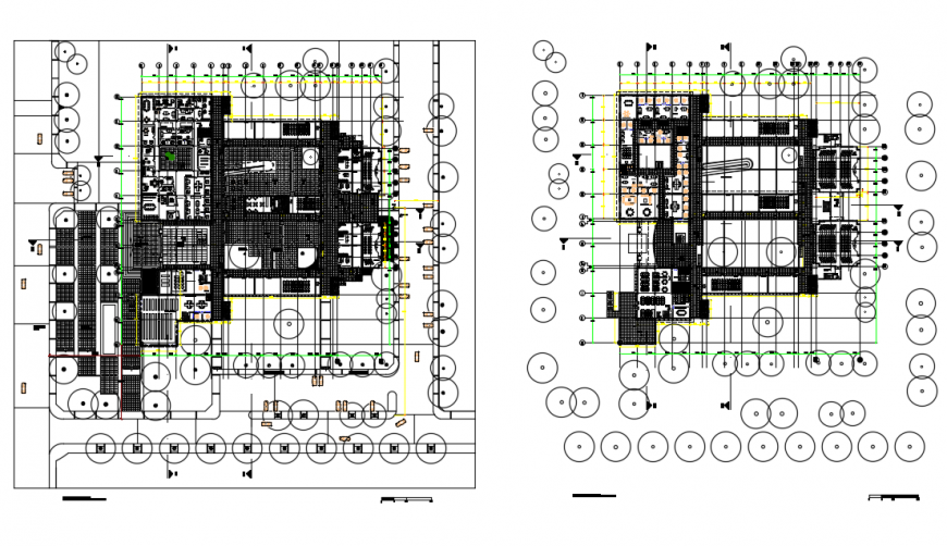 Education building floor plan layout with furniture drawing details dwg file