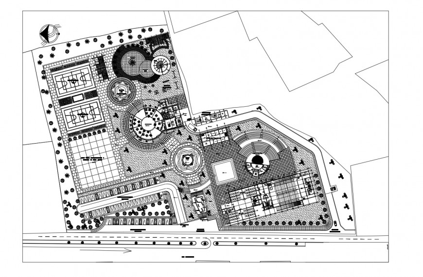Education institute building architecture layout plan and landscaping structure details dwg file