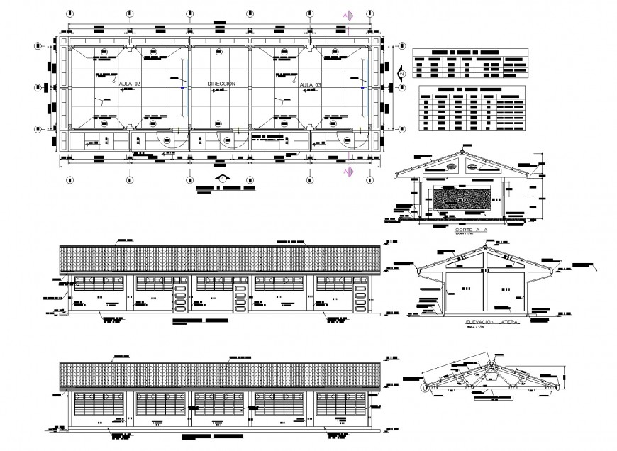 Educational institution plan, elevation and section autocad file