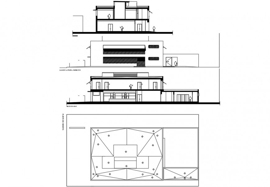 Educational workshop building elevation, section and structure details dwg file