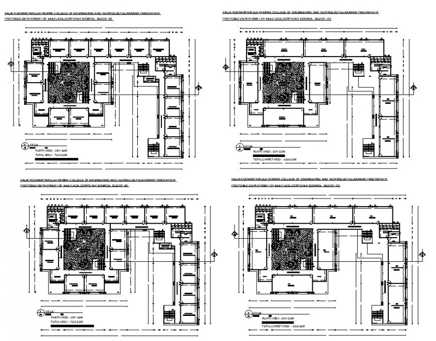 EEE, IT, ECE and computer science college departments floor plan details dwg file
