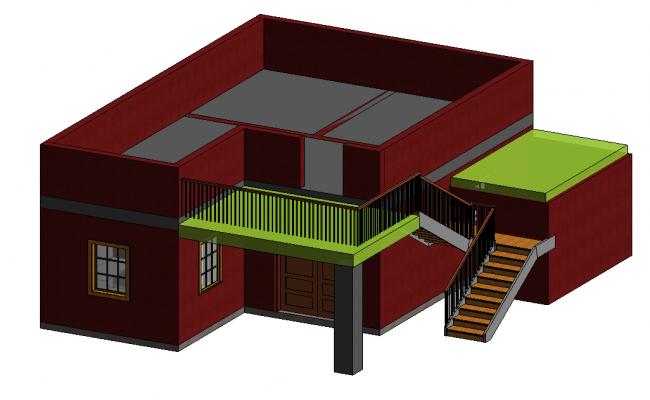 revit 3d building with architectural work