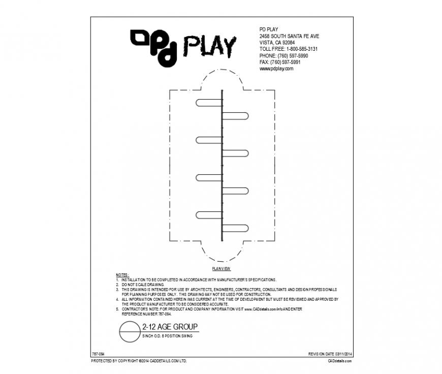 Eight position kids swings play equipment of garden dwg file