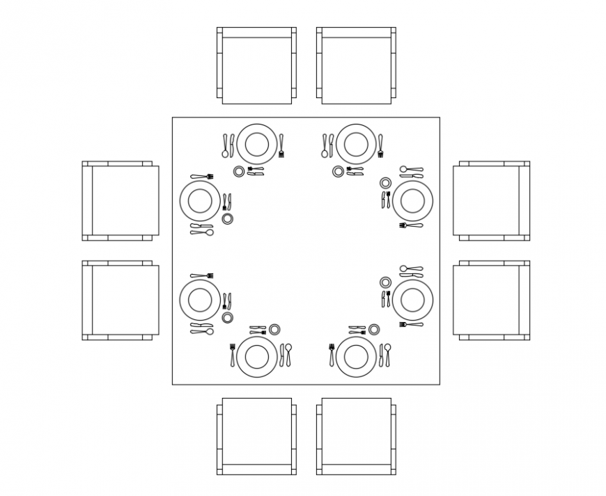 Eight seated house dining table top view cad block design dwg file
