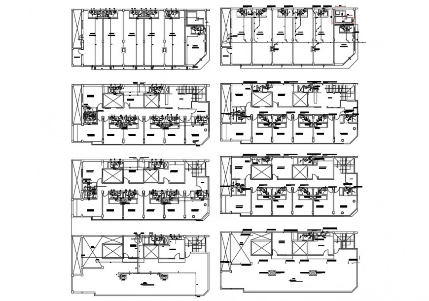 Eight story hotel building all floors floor plan cad drawing details dwg file