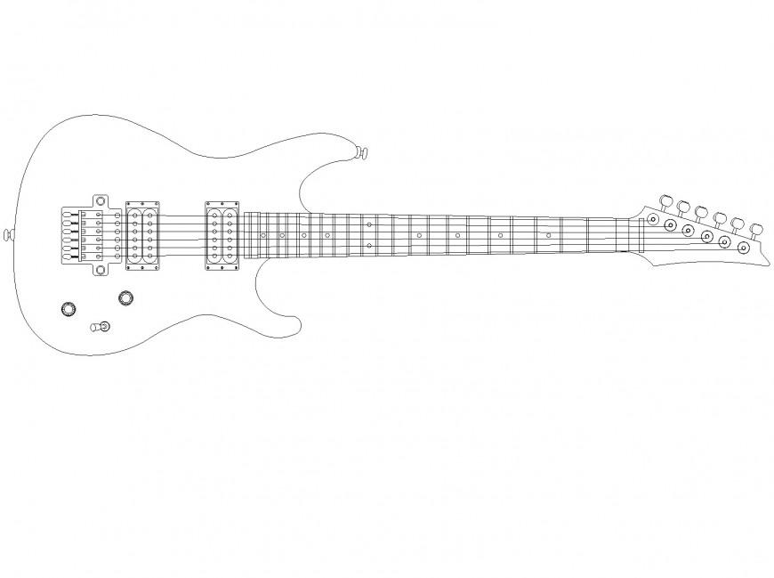 Electric Guitar plan autocad file