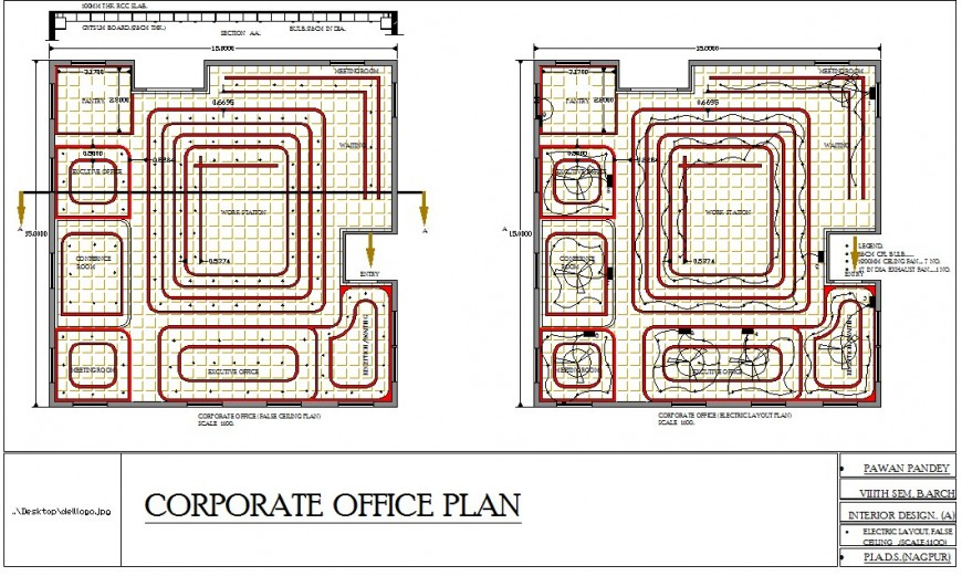 Electric layout plan of a office