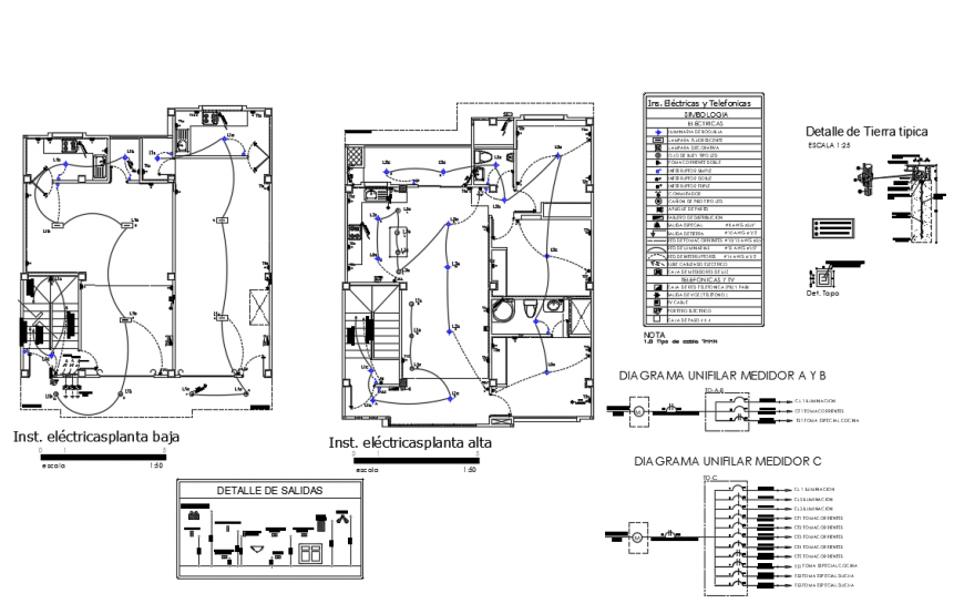 Electric layout plan with table format dwg file