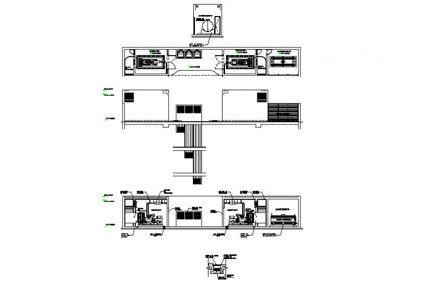 Electric plant with section and generator installation drawing details dwg file