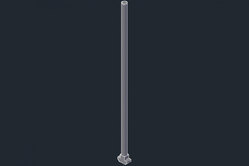 Electric straight pole 3d elevation block drawing details dwg file