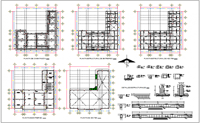 office building plan detail view with structure detail