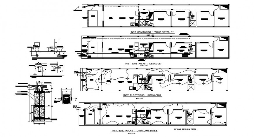 Electrical and sanitary fittings of building autocad