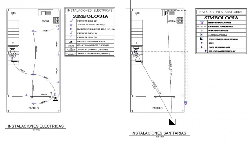 Electrical and sanitary installation plan of house detail autocad file