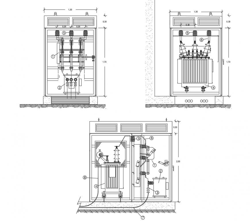 Electrical blocks detail 2d view autocad file