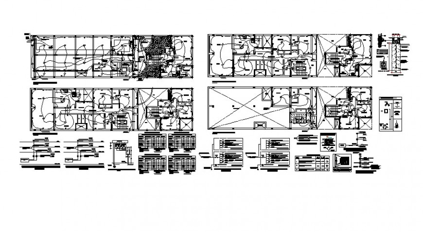 Electrical circuits and installation in a building detail drawing in dwg format