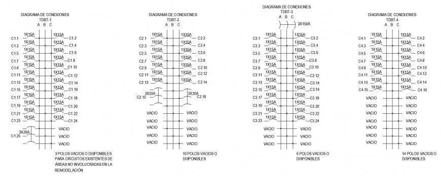 Electrical circuits drawings detailing 2d view dwg file