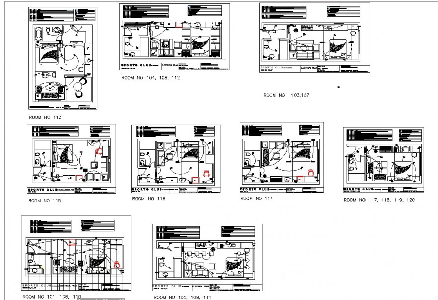 Electrical hotel room plan autocad file