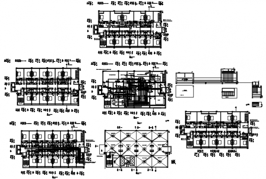 Electrical installation and floor plan distribution details of high rise building dwg file