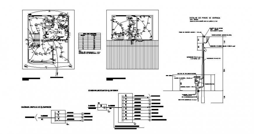 Electrical installation details with riser diagram cad drawing details dwg file