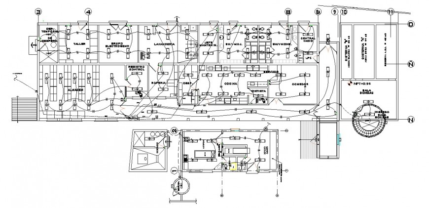 Electrical installation drawing details for hospital floor dwg file