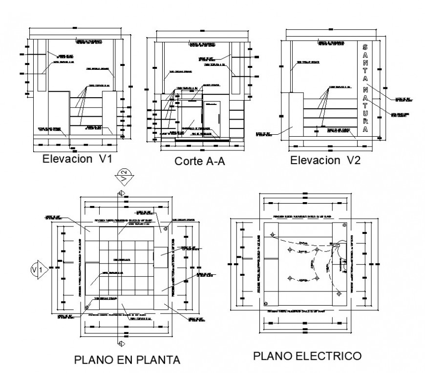 Electrical installation in a room 2d view CAD block layout file in dwg format