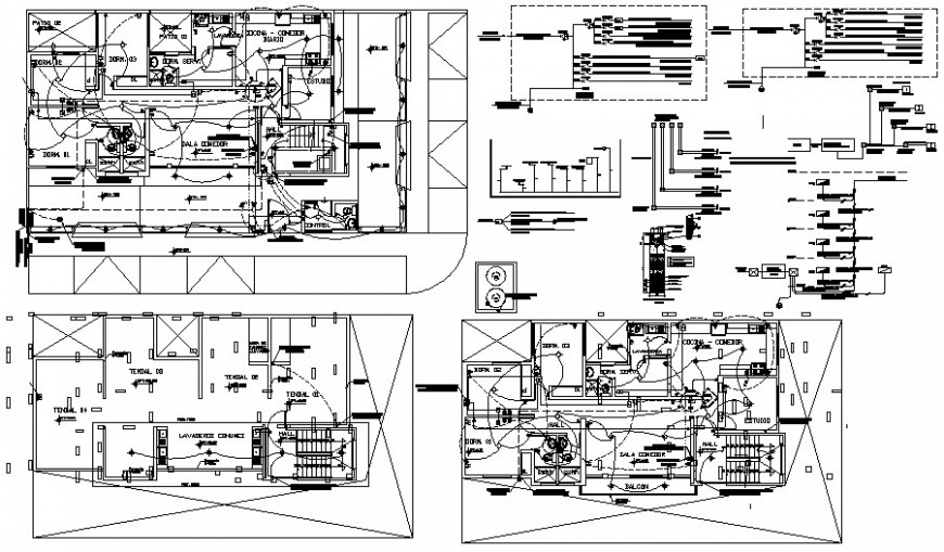 Electrical installation layout plan 2d view autocad file