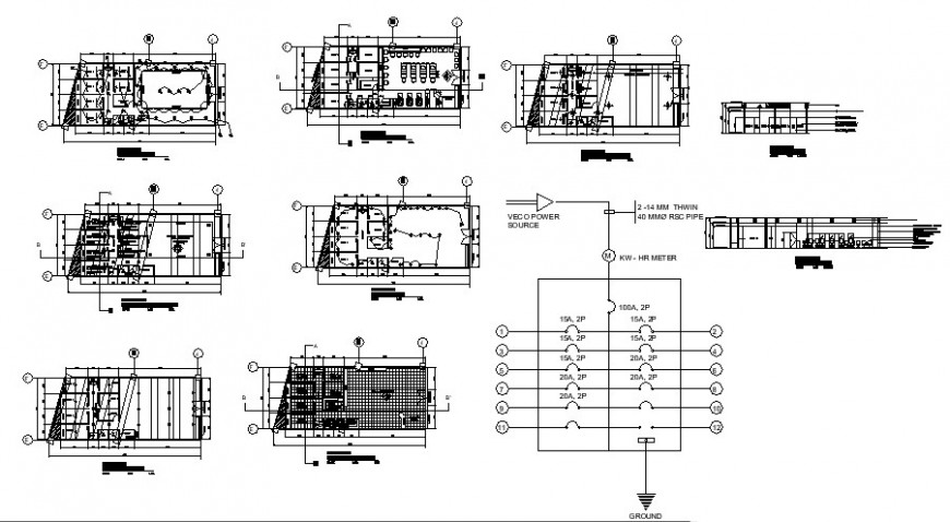 Electrical installation plan in building detail autocad file
