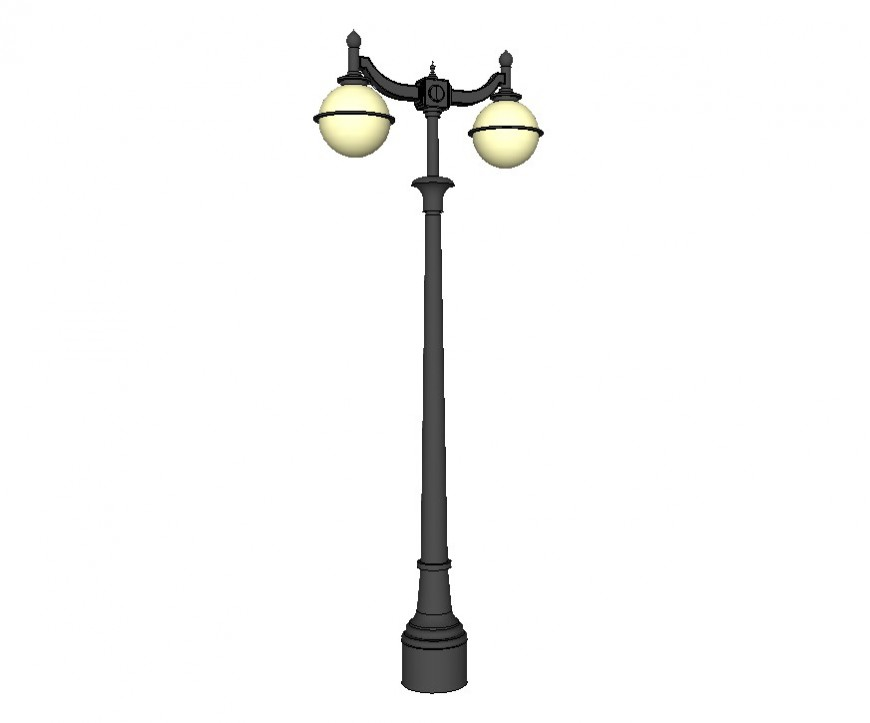 Electrical Lamp-post detail 3d model layout sketch-up file