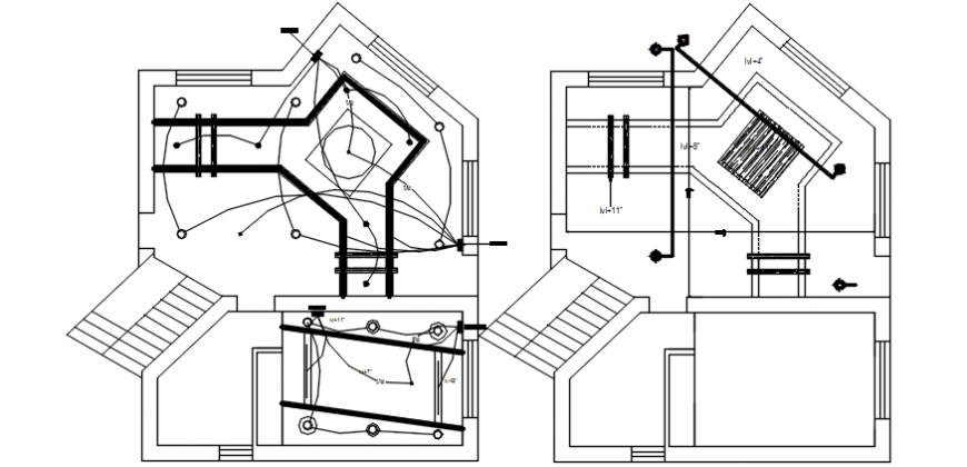 Electrical layout details in building 2d view autocad software file