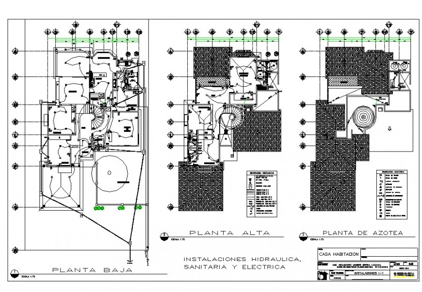 Electrical layout of three floor bungalow in dwg AutoCAD file.