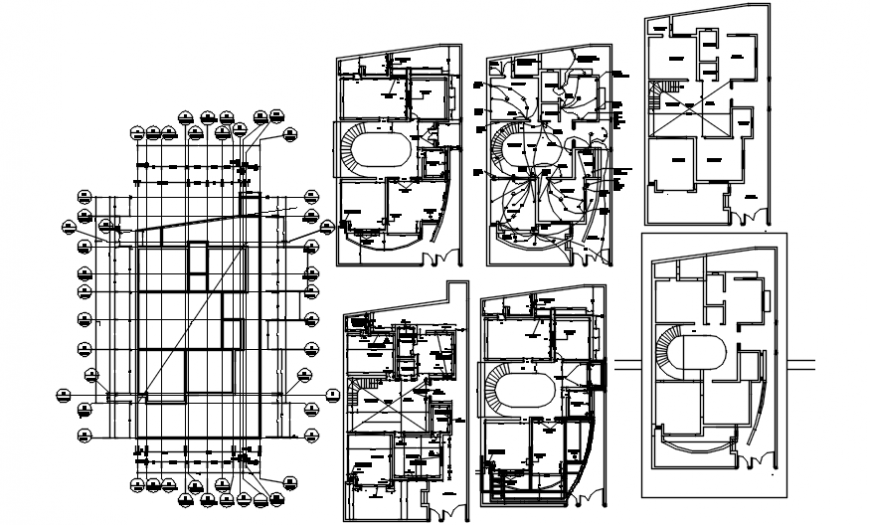 Electrical layout plan and foundation plan of residence project cad file