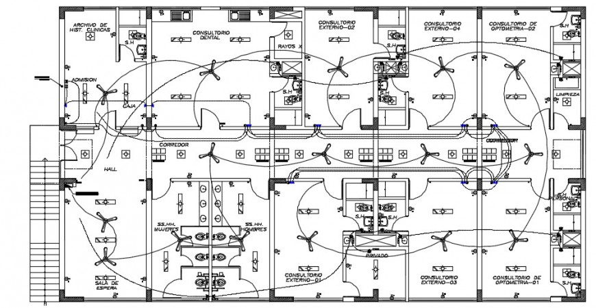 Electrical layout plan detailing of a building dwg file
