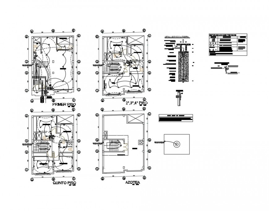 Electrical layout plan details of all floors of residential building dwg file