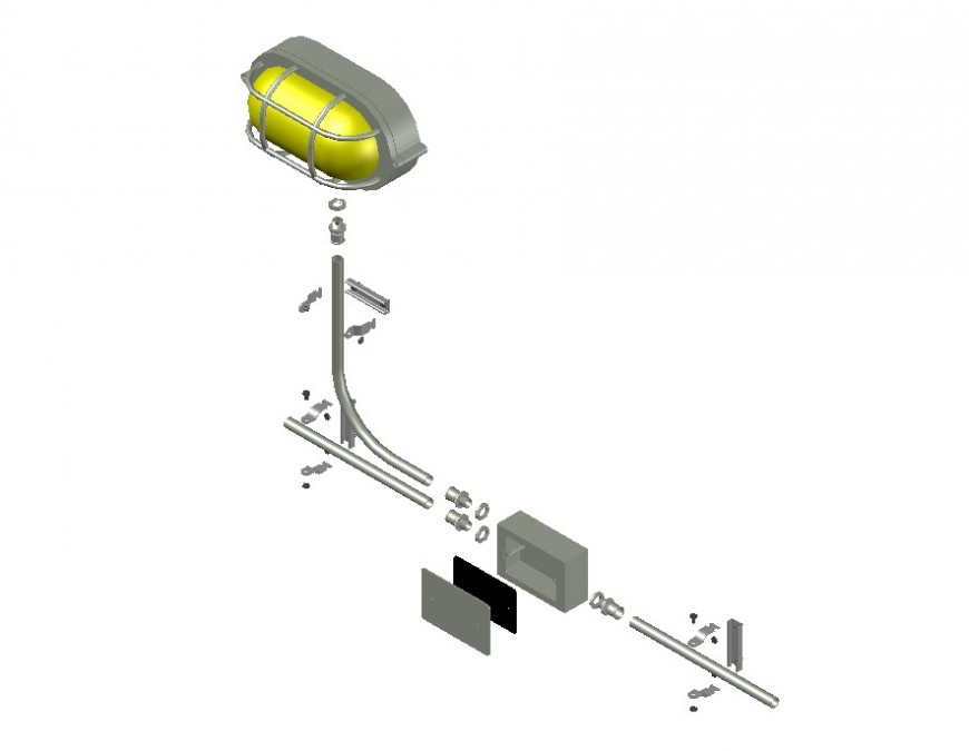 Electrical lighting equipment detail 3d model layout file in dwg format