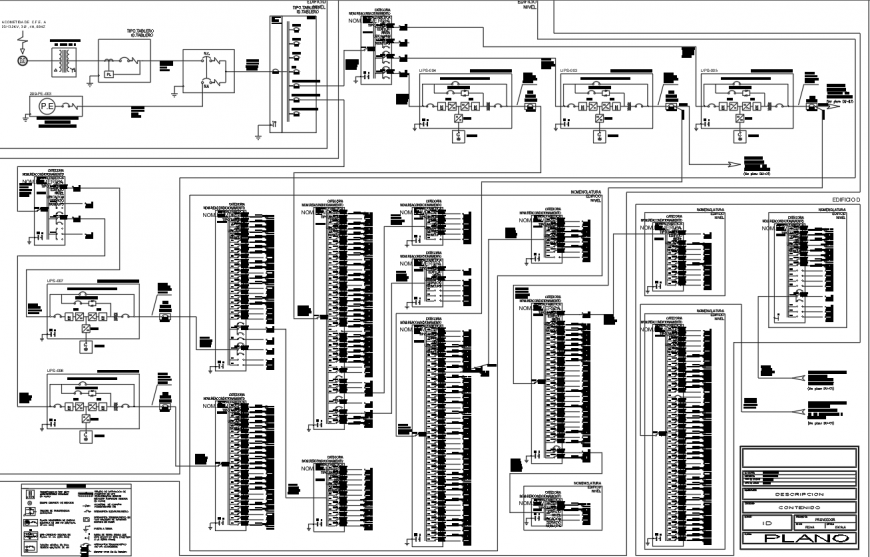 Electrical line diagram for office building drawing in dwg AutoCAD file.