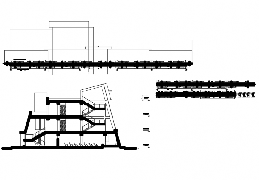 Electrical mechanical college facade sectional details with beam structure dwg file