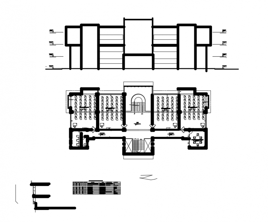 Electrical mechanical college front section and floor plan layout details dwg file