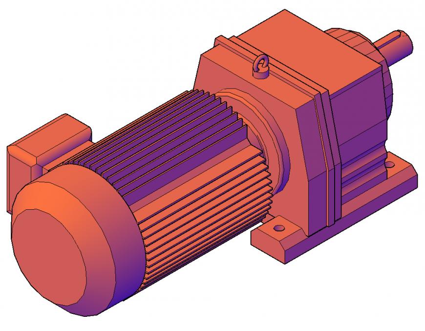Electrical motor detail elevation 3d model layout autocad file