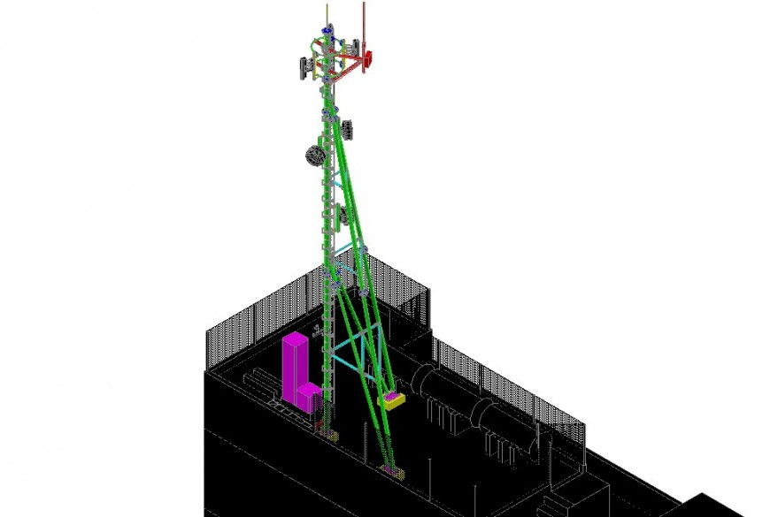 Electrical pole detail 3d model CAD block layout file in autocad format